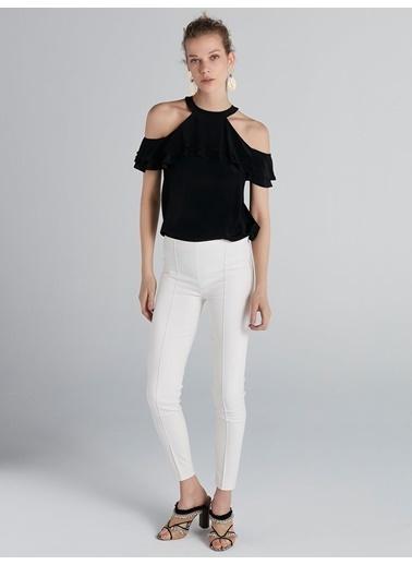 Ipekyol Dikiş Geçişli Fermuar Kapama Pantolon Beyaz